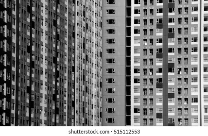 Architectural of window building modern style - pattern black and white