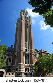 Architecturally significant bell tower on the University of Chicago campus stands out in the city
