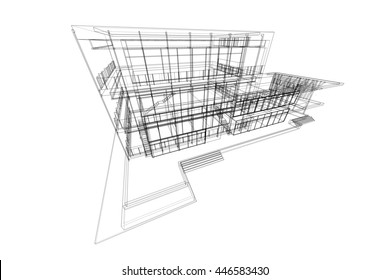 architecture abstract, 3d illustration, building structure