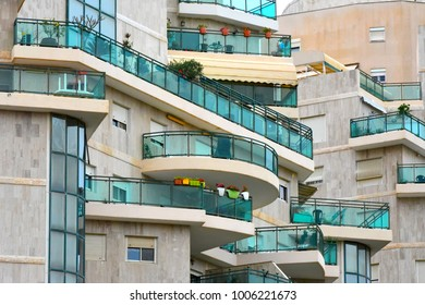 Architecture abstract glass balconies in Israel.