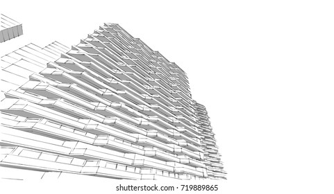 architecture abstract, sketch, 3d illustration
