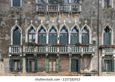Architecture along the many canals of Venice, Italy.