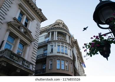 Architecture along the pedestrian street of Kneza Mihaila in Belgrade, Serbia