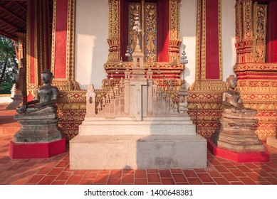 The Architecture and Ancient Buddha image and Sculpture Detail of  (Hor Pha keo Museum).Haw Pha Kaew Museum in Vientiane, Laos.Tourist in laos.