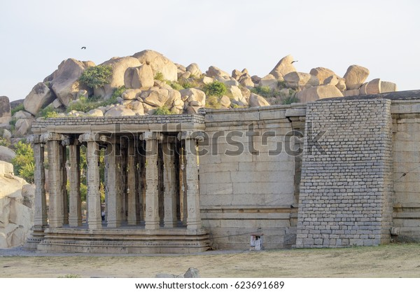 architecture ancient the city of Hampi in India