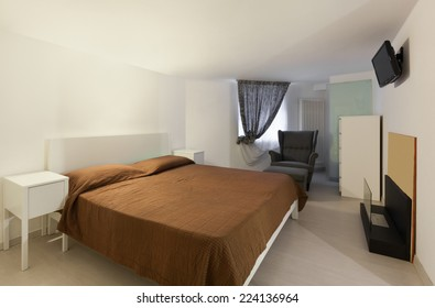 Architecture, apartment, bedroom with double bed