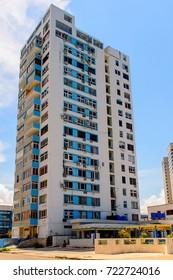 Architecture of the Atlantic coast of  Havana, the capital of Cuba