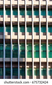 Architecture background of apartment or Condominium building window with light shading.