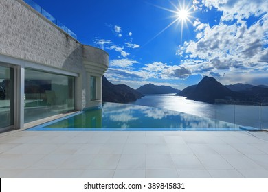 Architecture, beautiful landscape from a modern house with infinity pool