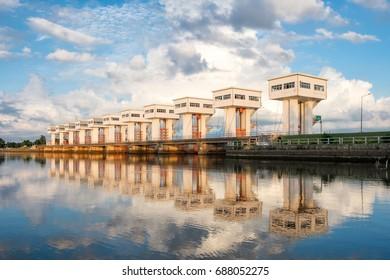 Architecture beautiful Utho Wipat prasit floodgates at sunset in pak phanang, nakhon si thammarat, thailand
