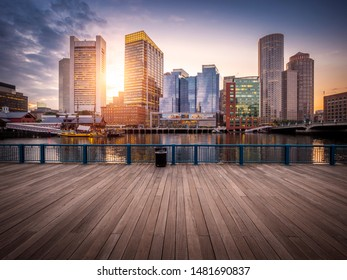 The architecture of Boston in Massachusetts, USA at night showcasing its Harbor and Financial District at downtown.