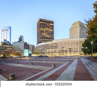 The architecture of Boston in Massachusetts, USA at sunrise showcasing its skyscrapers at the Financial District and Government Center.