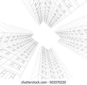 architecture building 3d illustration