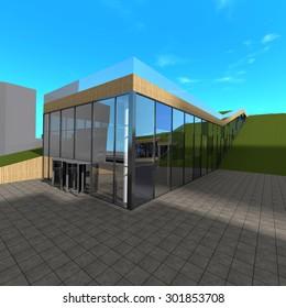 Architecture building. 3d rendering