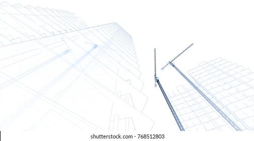 architecture building construction, 3d illustration