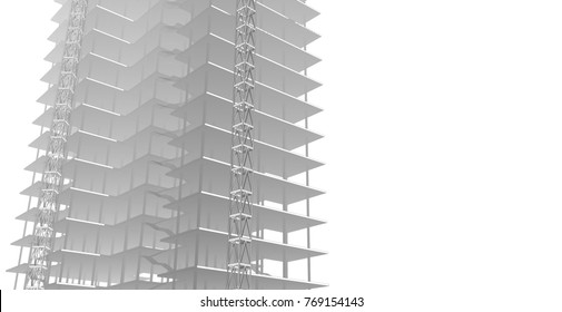 architecture building construction, 3d illustration