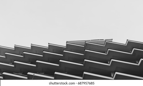 Architecture building design modern,zig zag, Black and White tone.art with line minimal.