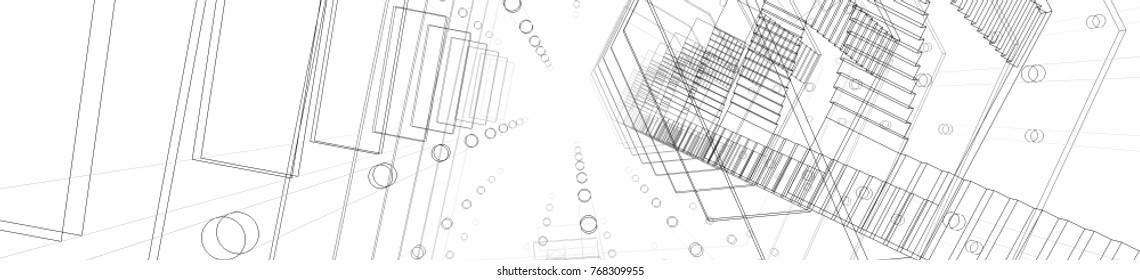 architecture buildings with building crane 3d illustration