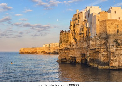 ARCHITECTURE AND BUILDINGS.Stones of Apulia.Polignano a Mare: panoramic view .-ITALY(Bari)-