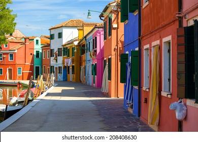 architecture of Burano island. Venice. Italy.