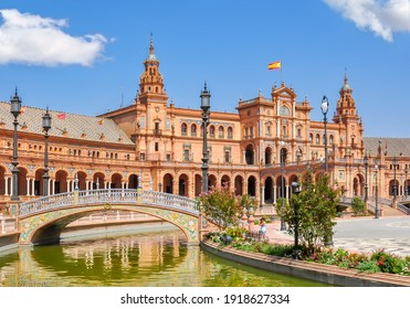 Architecture and canals of Spain square, Seville, Spain