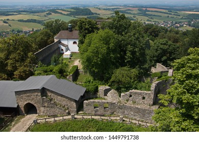 Architecture of the castle Hukvaldy in Beskydy in Czech republic