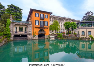 Architecture of the city of Como over the Lake Como, Lombardy, Italy.