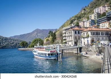 Architecture of the city of Como over the Lake Como, a lake of glacial origin in Lombardy, Italy. 25.04.2015