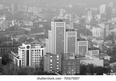 The architecture of the city of Dnepropetrovsk is black and white.