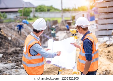 Architecture and civil engineer working at construction site for survey, Worker construction