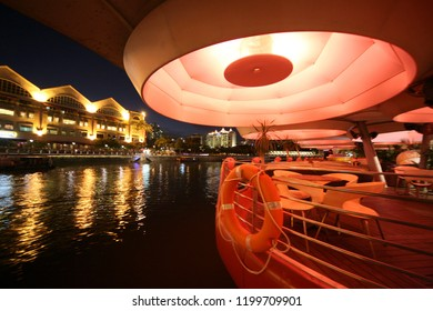 the architecture at the Clarke Quay at the boat quay at the Singapore River and Marina Bay in the city of Singapore in Southeastasia.    Singapore, December, 2009
