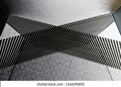 Architecture collage photo. Louvered and tiled walls of modern office buildings. Abstract black and white architectural background.