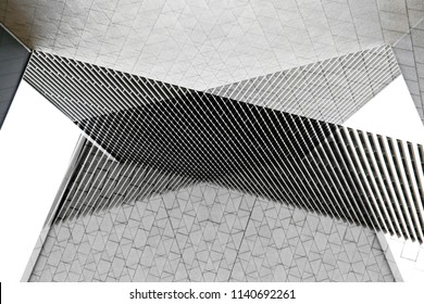 Architecture collage photo. Tiled and louvered walls of modern buildings. Abstract architectural background in black and white.