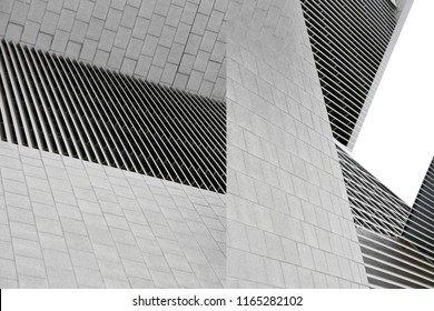 Architecture collage photo. Tiled and louvered walls of modern buildings. Abstract black and white architectural background.