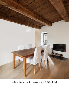 Architecture, comfortable loft furnished, dining room