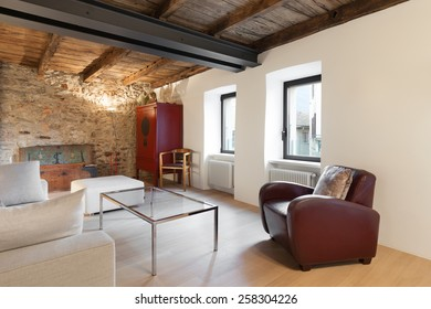 Architecture, comfortable loft furnished, living room