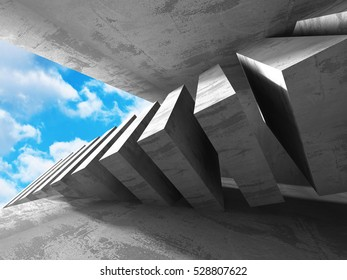 Architecture Concrete Geometric Abstract Background. 3d Render Illustration