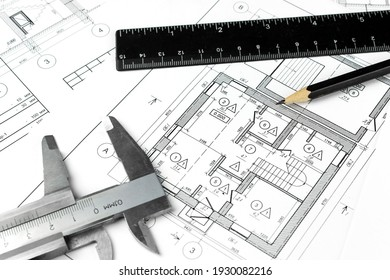 Architecture Construction Drawings. Part of architectural project with engineering tools