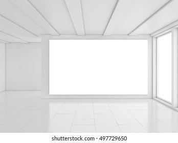 Architecture construction. White clean room. 3D illustration