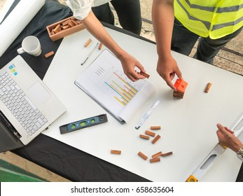 Architecture and construction worker in site