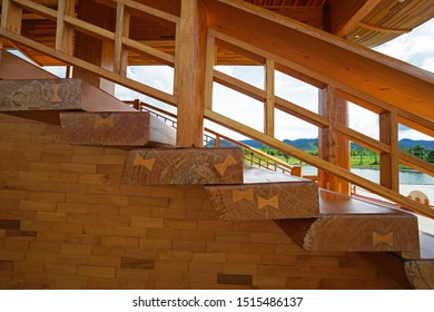 Architecture design and decoration of wooden staircase and building -decorated with wood panels and pillars