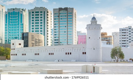 Architecture design of an old Arabic building - Qasr Al Hosn museum the most significant building in Abu Dhabi located in the heart of the city Abu Dhabi, UAE - July 01, 2019