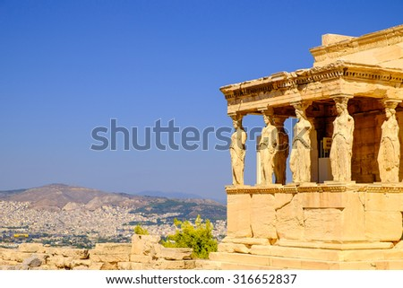 Architecture detail of ancient temple Erechteion in Acropolis, Athens, Greece