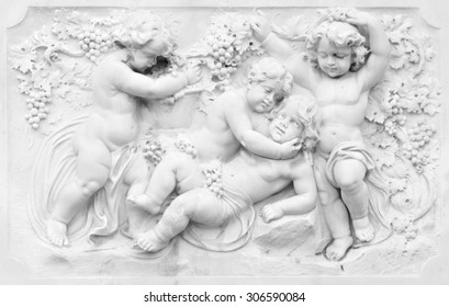 Architecture detail of basrelief with cherubs