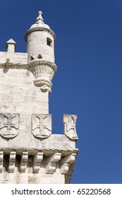 Architecture detail of the Belem tower an historical touristic attraction in the river tagus, Lisbon Portugal