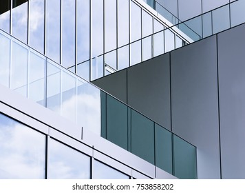 Architecture detail Glass wall Modern building exterior Abstract background