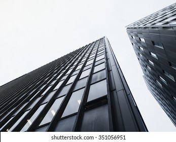 Architecture detail Modern Glass facade building Black and White