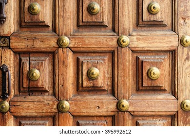 Architecture detail on tropical island Tenerife, Canary in Spain. Wooden door in old town La Orotava.