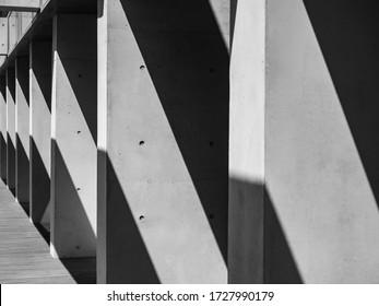 Architekturdetails Modernes Gebäude Betonsäulen Raumperspektive Abstrakter Hintergrund