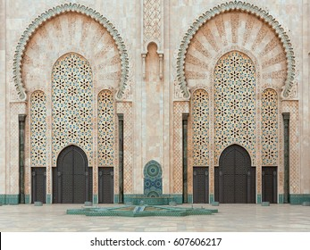 Architecture details of mosque Hassan II in Casablanca, Morocco